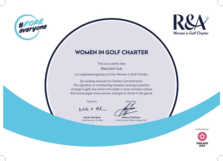We are proud to announce that Wells Golf Club is a registered signatory of the Women in Golf Charter.